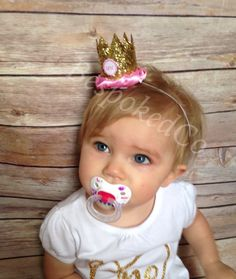 One first Birthday pink and Gold crown /First by BespokedCo