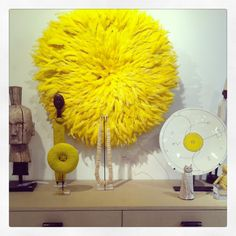 Yellow Juju feather headdress and coordinating accessories