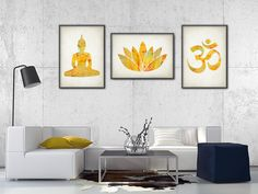 Yoga Gold Watercolor Wall Art Print Set of 3 - Modern Home Decor - Buddha Ohm Symbol Lotus Flower Giclee Art Poster Set of Three  This set of 3 posters is printed using high quality archival inks on heavy-weight archival paper with a smooth matte finish. A fantastic gift or a fabulous addition to your home!  Please choose between different sizes.  ---------------------------------------------------------------------------------------------  For more Modern Art prints please visit…