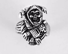 grim Reaper skull Ring for unisex made of sterling silver 925 Gothic biker Gothic Rings, Sterling Silver Mens Rings, Biker Rings, Biker Style, Grim Reaper, Friends In Love, Statement Rings, Beautiful Rings, Jewelry Shop