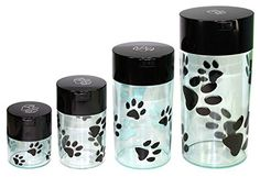 Pawvacs Set of 4 ( 24 Ounce ) Vacuum Sealed Pet Food Storage Containers; Black Cap & Clear Body/Black Paws ~ You could get additional details at the image link. (This is an affiliate link and I receive a commission for the sales) Dog Food Container, Pet Food Storage, Nursing Supplies, Dog Itching, Dog Training Pads, Dog Dental Care, Dog Shedding, Cat Feeding, Dog Chew Toys