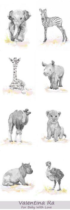 Neutral Nursery Set of 8 Prints Baby Animals Watercolor от ValrArt (scheduled via http://www.tailwindapp.com?utm_source=pinterest&utm_medium=twpin)