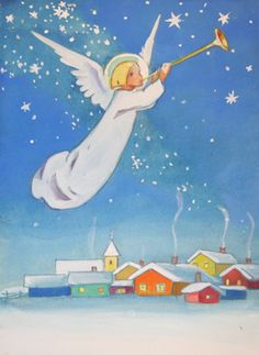 Beautiful Vintage Christmas Angel Card by Martha Wendeli! Just a Bit of Orange! Christmas Tale, Vintage Christmas Cards, Retro Christmas, Christmas Pictures, Christmas Angels, Vintage Cards, Christmas Illustration, Illustration Art, Angel Cards