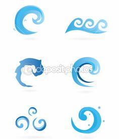 ícones de água, ondas — Ilustração de Stock #3298762