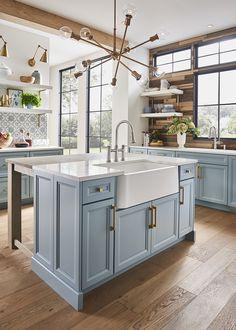 Kitchen Island With Sink, Blue Kitchen Cabinets, Farmhouse Sink Kitchen, Modern Farmhouse Kitchens, Diy Kitchen, Kitchen Interior, Home Kitchens, Kitchen Decor, Modern Farmhouse Design