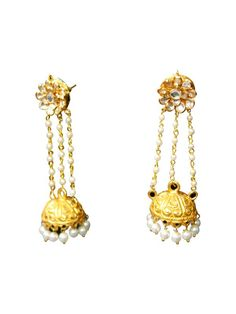 JHUMKIS by designer Mireve from sobayha.com. Silver gold plated jhumkis with cystals and pearl detailing. See more at: https://www.sobayha.com/catalogue/jhumkis_406/