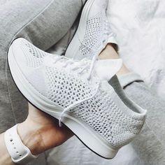 Nike triple white Flyknit Racer