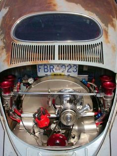 I like the brushed aluminum look Vw Engine, Combi Vw, Vw Vintage, Beach Buggy, Vw T, Vw Cars, Vw Beetles, Motor Car, Cool Cars