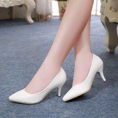 De Tacón alto Zapatos de Las Mujeres de Nueva Moda 2016 de las mujeres de cuero genuino 7 cm zapatos de tacón en Blanco y Negro de Señora de La Oficina en Bombas de las mujeres de Zapatos en AliExpress.com | Alibaba Group