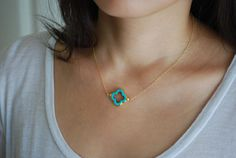 Turquoise Four Leaf Clover Gold Necklace also in by jennijewel. $33.00 USD, via Etsy.