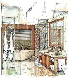 Kitchen Interior Design Sketch For 2019 Interior Design Renderings, Drawing Interior, Interior Rendering, Interior Sketch, Interior Architecture, Classical Architecture, Color Interior, Croquis Architecture, Marker