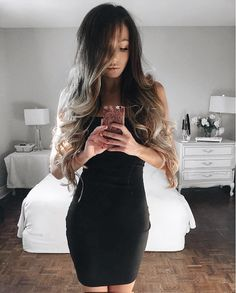 going out with your girls tonight? 👯🍸 the perfect LBD is all you need | @kylacentomo showing off her luscious locks in our flaunt it black bodycon dress 🔥 #lovelulus #lulusambassador