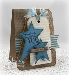 Poetic Artistry: A Bit of You. Stamps:  Just for You, Small Phrases (Verve). Paper: marina mist, crumb cake, tag. Ink: early espresso, marina mist (SU!), antique linen (Ranger). Accessories:  Primitive Stars (Sizzix), burlap (7 Gypsies), ribbon (SU!), polka dot embossing folder (Cuttlebug), star pearl, corner rounder.