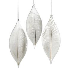 Z Gallerie - White Feather Glass Ornament