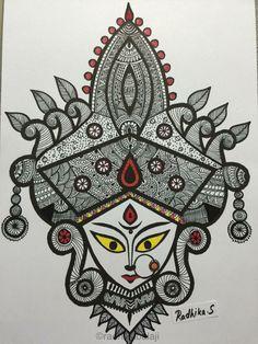 Artwork By Radhika Sheshadri Doodle Art Drawing, Cool Art Drawings, Mandala Drawing, Art Drawings Sketches, Mandala Art Lesson, Mandala Artwork, Madhubani Art, Madhubani Painting, Durga Painting