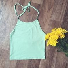 This Mint Halter Crop Top is a summer essential! This top is so comfortable and has the perfect amount of stretch! We love pairing this basic crop with flowy shorts and gladiator sandals, Cotton,cr Spring Outfits, Trendy Outfits, Cute Outfits, Fashion Outfits, Cute Crop Tops, Crop Top Shirts, Flowy Shorts, Scarf Shirt, Halter Crop Top