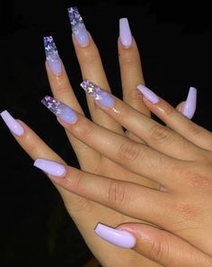 76 Charming Acrylic Nails for Long Nails and Short Nails - The First-Hand Fashion News for Females Purple Acrylic Nails, Square Acrylic Nails, Almond Acrylic Nails, Best Acrylic Nails, French Tip Acrylic Nails, Violet Nails, Cute Acrylic Nail Designs, Purple Nail Designs, Purple Nails With Design