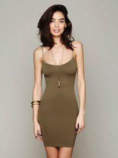 Free People Intimately Seamless Mini Slip in Olive | OUR PRICE:  $18 #freepeople #bohostyle #layers