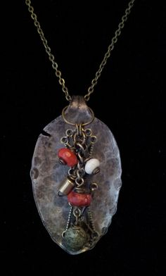 Pounded spoon pendant with bronze and red and by ZoeleighJewelry, $20.00