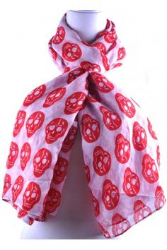White Base Red Skull Print Scarf Available from www.skullaccessories.co.uk