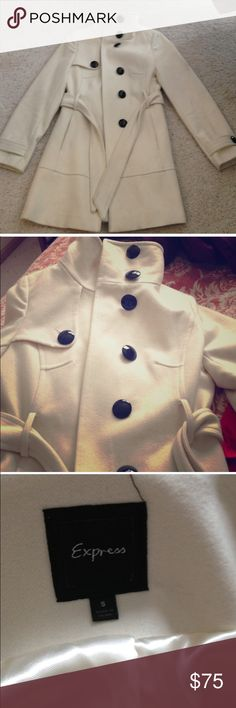Express Cream Color Peacoat Express Cream color Peacoat. Great for fall and winter. Black buttons. Wrap around. Great quality. Express Jackets & Coats Pea Coats
