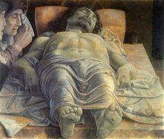 Andrea Mantegna - Christ Mort 1480 ________________________________ Une Pré-Renaissance se produisit dans plusieurs villes d'Italie dès les XIIIe et XIVe siècles (Duecento et Trecento), se propagea au XVe siècle dans la plus grande partie de l'Italie et une partie de l'Europe sous la forme de ce que l'on appelle la Première Renaissance (Quattrocento), puis gagna l'ensemble de l'Europe au XVIe siècle (Cinquecento).