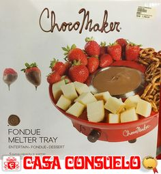 Bandeja para fondue de chocolate. Con división para colocar frutas, panes, dulces y temporizador para mantener el chocolate #casaconsuelord