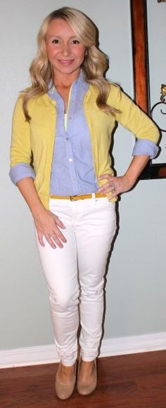 Chambray with a yellow cardigan and white skinnies.
