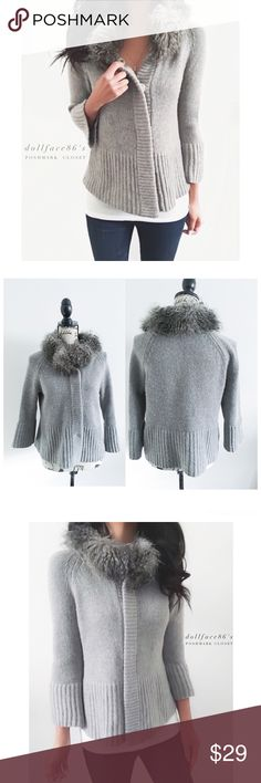 """Ann Taylor Grey Faux Fur Cardigan {actual color of item may vary slightly from pics}  *chest:20"""" *waist:21"""" *length:23"""" *sleeves:22"""" *material/care:extra fine merino wool  modal & faux fur  *fit:hand wash  *condition:has fuzzies on the knit, & a spot on the side of button not noticeable  especially not when buttoned   🌸20% off bundles of 3/more items 🌸No Trades  🌸NO HOLDS 🌸No transactions outside Poshmark  🌸No lowball offers Ann Taylor Sweaters Cardigans"""