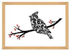 bird cross stitch pattern ornamental silhouette by ILoveMyDesigns