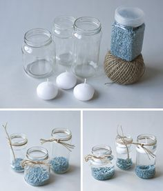 Floating candles in a jar Floating Candles, Diy Candles, Ideas Bautismo, Baby Shawer, Candle Making, Baby Boy Shower, Christening, Diy And Crafts, Creations