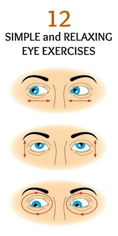 12 Simple and Relaxing Eye Exercises : Did you know that you can exercise your eyes as well? Eye exercises will keep your eyes healthy and help minimize eyestrain. Health And Beauty, Health And Wellness, Health Tips, Health Exercise, Home Remedies, Natural Remedies, Dry Eyes Causes, Eye Infections, Yoga Workouts