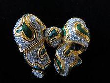 KJL Clear Crystal Rhinestone & Emerald Enamel Chunky Bow Brooch
