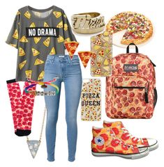 """""""//pizza please//"""" by xhopefulromanticx ❤ liked on Polyvore featuring Vinca, Fox Run, JanSport, Pyknic, Casetify, Topshop, Snash Jewelry, 7 For All Mankind and Venessa Arizaga"""