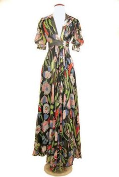 Ossie Clark Chiffon Crepe Tulip Print Dress (Doyle New York)