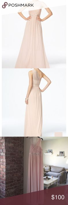 Embellished One-Shoulder Gown in Blush Only wore once while 30 weeks pregnant for sister's wedding, however, it is not a maternity gown. Adrianna Papell Dresses Wedding
