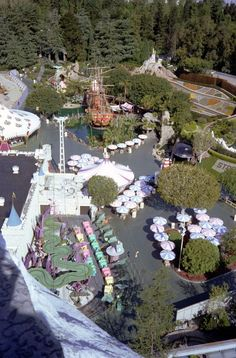Cool vintage aerial view of Disneyland! You can see the old ride that is now Alice in Wonderland