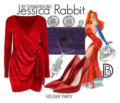 """""""Jessica Rabbit"""" by leslieakay ❤ liked on Polyvore featuring Anya Hindmarch, Alexander McQueen, Boohoo, disney, disneybound, disneycharacter and holidaystyle"""