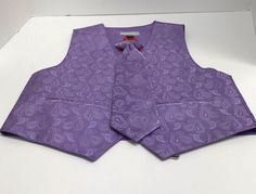 Boys' Formal Vest Lavender Paisley & Clip-on Tie Polyester Veronelli Size 7 New #Vest