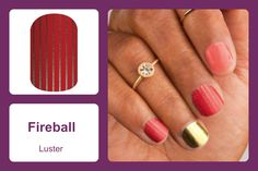 Thin, vertical stripes on a classic red background gives this luster-finish wrap, 'Fireball' a bit of flair while keeping it casual. #bevsjamminnails https://bkimball.jamberry.com/us/en/shop/products/fireball#.Vxe-c_krJQI