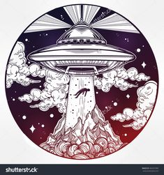 Alien Spaceship. Ufo Background With Flying Saucer Abducting A Human. Conspiracy…