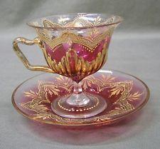 Vintage Moser Cranberry Glass Pedestal Cup and Saucer Gold Enameling ,Art Glass