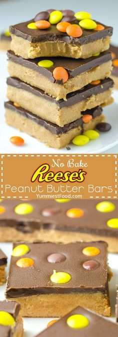 Easy No Bake Reeses Peanut Butter Bars - Easy, simple and quick no bake dessert recipe with peanut butter and chocolate, is perfect idea for Thanksgiving treat! # no bake Desserts Easy No Bake Reese's Peanut Butter Bars Brownie Desserts, Oreo Dessert, Mini Desserts, Coconut Dessert, Low Carb Dessert, Quick Easy Desserts, Holiday Desserts, Dessert Bars, Delicious Desserts