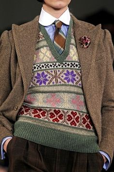 Ralph Lauren AW 2012. Play with scale within Fair Isle. Love this knitting.