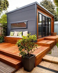 Container House Design Patio – Shipping Container US Tyni House, Tiny House Cabin, Modern Small House Design, Tiny House Design, Modern Tiny Homes, Modern Shed, Modern Patio, Home Interior Design, Exterior Design