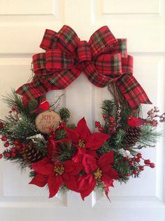 Christmas Wreath / Vintage Christmas Wreath / Xmas Red - Classic Wreath / Red Poinsettia Door Decor / Handmade and Design Grapevine Wreath