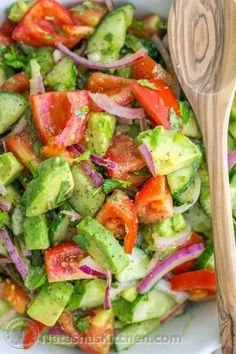 Cucumber Tomato Avocado Salad - from Natasha's Kitchen; Serves: 4 (as a side salad) Ingredients 1 lb Roma tomatoes 1 English cucumber ½ medium red onion, sliced 2 avocados, diced 2 Tbsp extra virgin olive oil or sunflower oil Juice of 1 medium lemon (about 2 Tbsp) ¼ cup (1/2 bunch) cilantro, chopped 1 tsp sea salt or ¾ tsp table salt ⅛ tsp black pepper (I'd add chickpeas or chicken to this for more protein depending on if you are vegan or not) Instructions 1. Place chopped tomatoes, sliced…