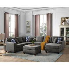 "Winston Porter Nibbi 124"" Linen Right Hand Facing Modular Large Sectional with Ottoman | Wayfair Modular Sectional Sofa, Reclining Sectional, Corner Sectional, Chaise Sofa, Sectional Ottoman, Charcoal Sectional, U Shaped Sectional Sofa, White Sectional, Fabric Sectional"