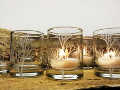 36 'Tree Branch' Candle Holders Perfect for an autumn wedding. Autumn Wedding Favors Engraved Glass Votive Holders Fall Decor    For more wedding inspiration check out our blog www.creativeweddingco.com