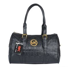 Michael Kors Logo-Print Large Black Satchels Outlet